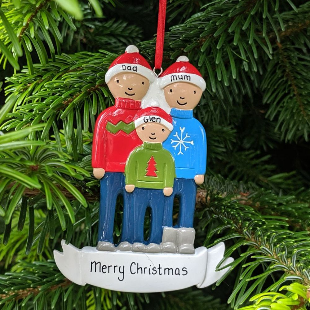Personalised Family of 3 Christmas Tree Decoration
